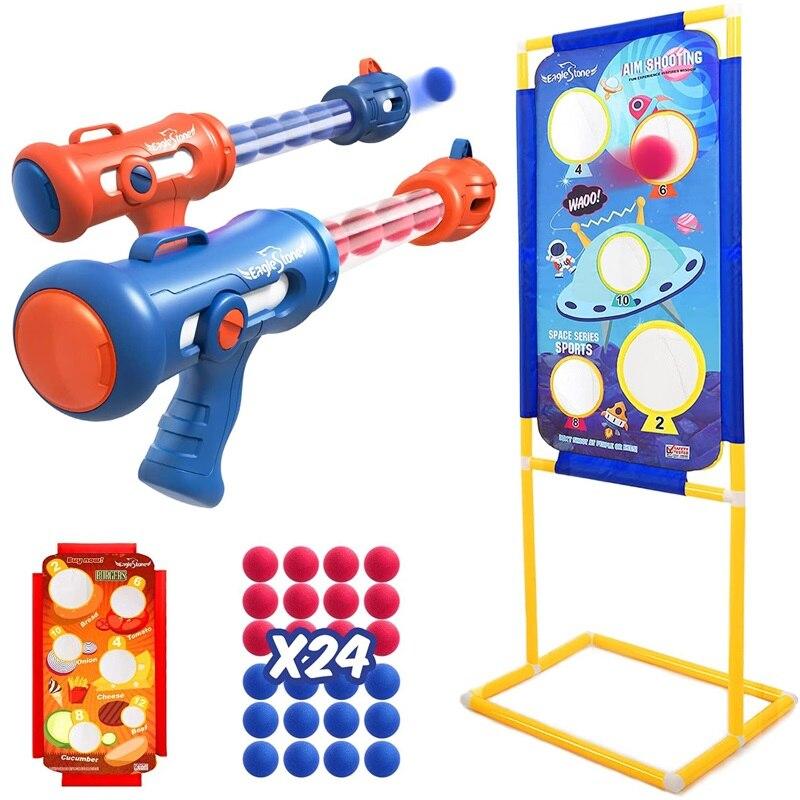 Детские игрушки с 2 пневматическими пистолетами из пенопласта, мишенью для стрельбы, 24 шара из пенопласта, интерактивные игры для стрельбы, ...