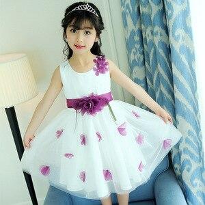 Girl summer new fashion dress Girl sleeveless three-dimensional flower dress Girl sweet western style vest dress Girl dress