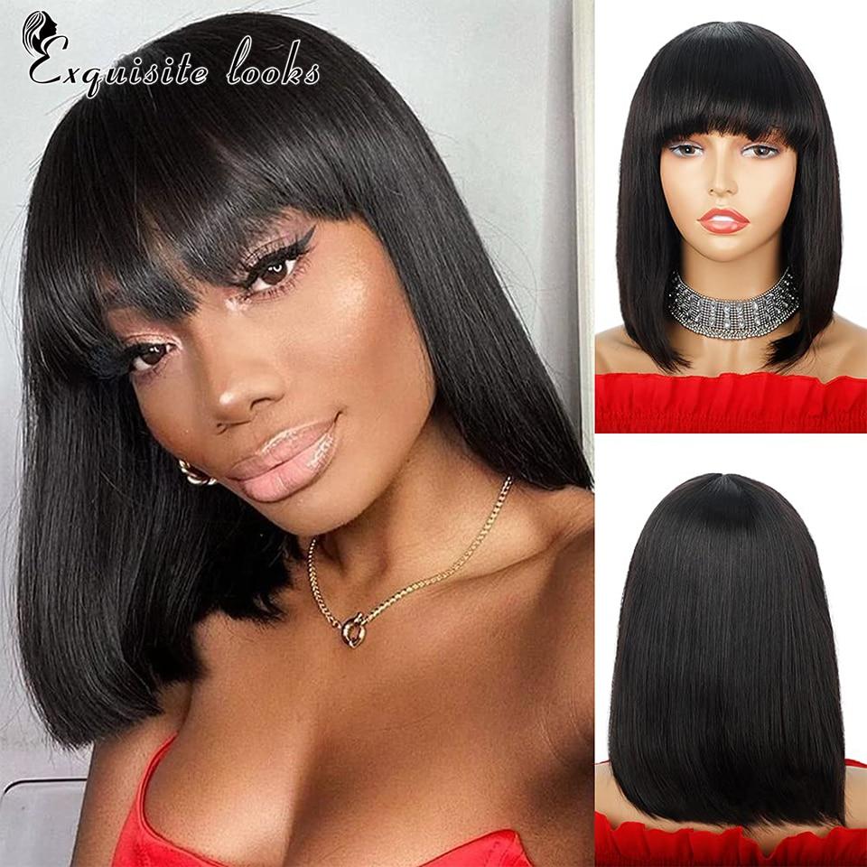 Short Bob Human Hair Wigs with Bangs Brazlian Straight Hair Machine Made Bob Wig for Black Women Natural color