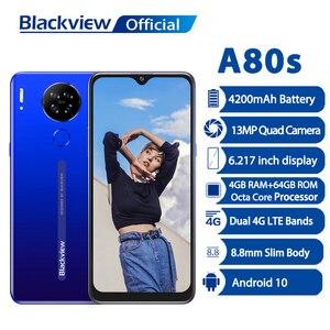 Blackview A80s смартфон 4 Гб Оперативная память + 64 Гб Встроенная память 13MP Quad Камера 4200 мА/ч, Батарея Android 10 Moibile чехол для телефона