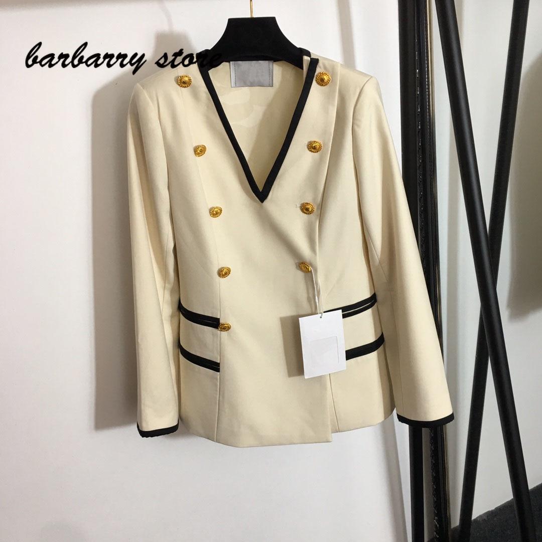 21 luxury brand design fashion women's long sleeve top temperament slim V-neck suit versatile simple short jacket casual jacket