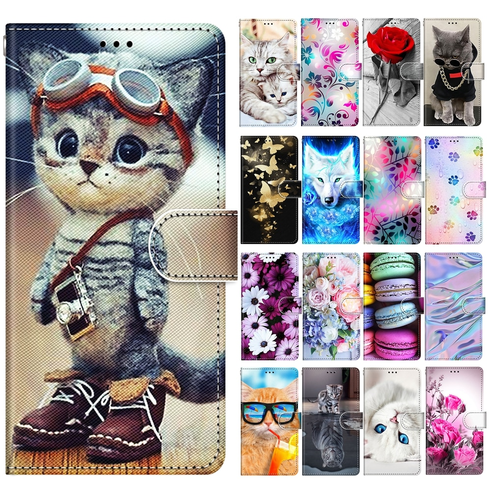 for Samsung S21 Ultra Case on Etui Samsung Galaxy S21 Plus Case Cute Dog Cat Tiger Rose Wallet Leath
