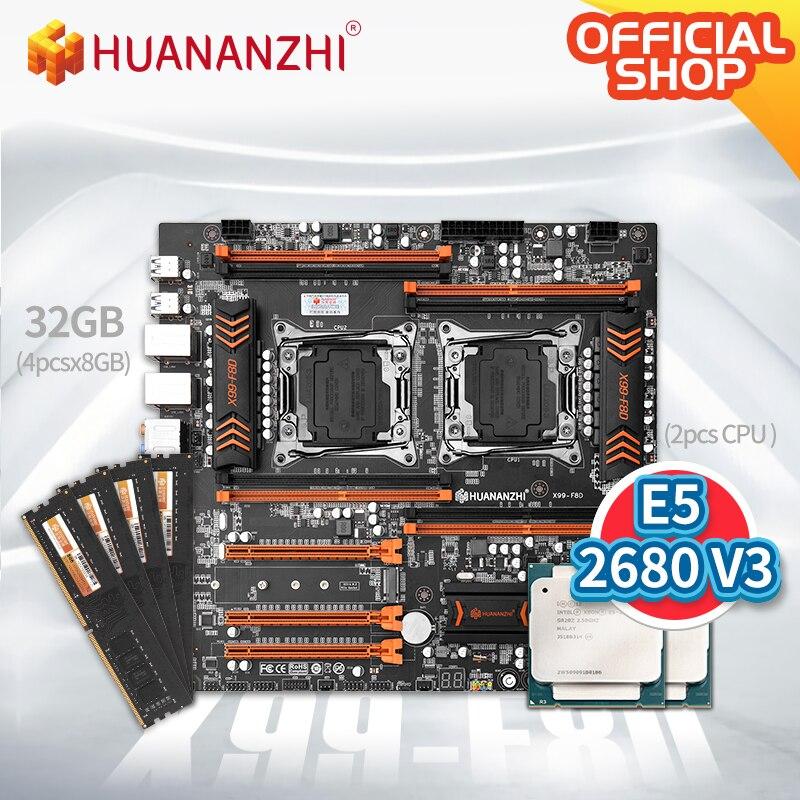 HUANANZHI X99 F8D X99 اللوحة إنتل المزدوج مع إنتل زينون E5 2680 V3 * 2 مع 4*8 جيجابايت DDR4 NON-ECC الذاكرة كومبو عدة NVME USB