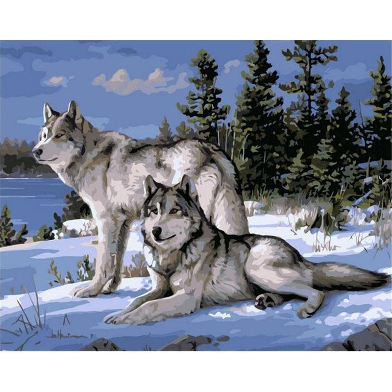 Pintura gatyztory por números para adultos niños Lobo animales pintado a mano pintura al óleo decoración del hogar regalo