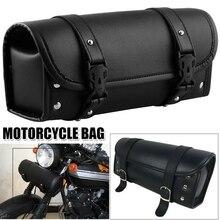 Sac de fourche de moto étanche sac de guidon de moto sacoche de selle en cuir Pu avant arrière pochette de rangement outil sac de queue noir