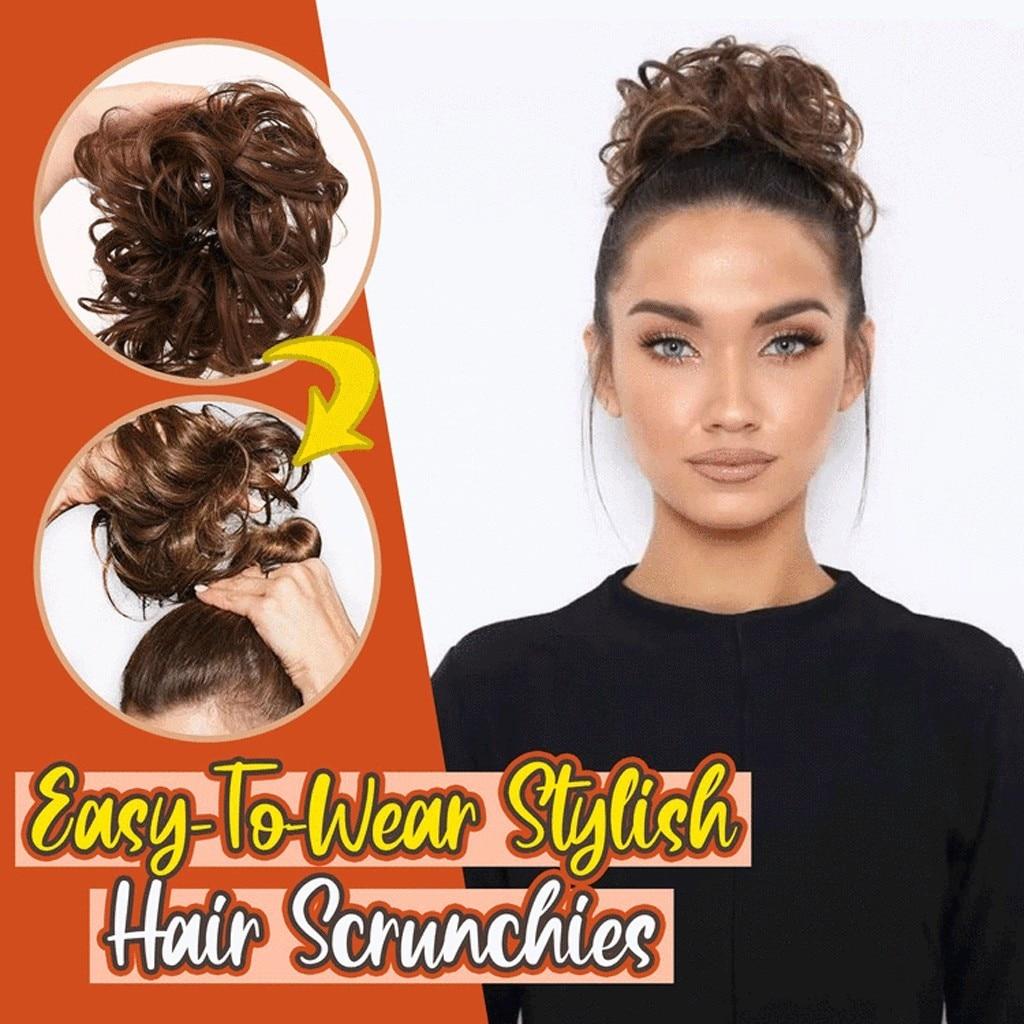 Elastics Hair Circle Wigs Brazil Synthetic Hair Non-remy Soft Hair Bun Curly Elastic Wavy Braid Head