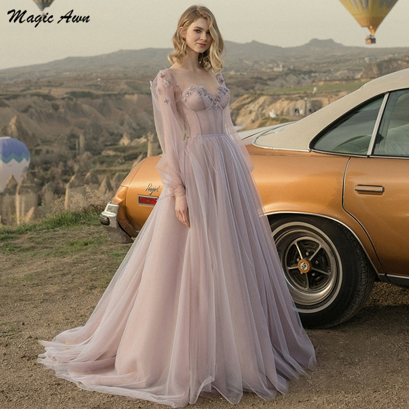 Magic Awn 2021 Full Sleeves Boho Wedding Dresses Flowers Appliques Illusion Country A-Line Mariage Gowns Lace-Up Back Vestidos недорого