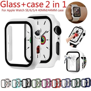 Full Cover For Apple Watch Series 6 SE 5 4 3 2 1 Plastic Bumper Hard Frame Case With Glass For iWatch Screen Protector 19 Colors