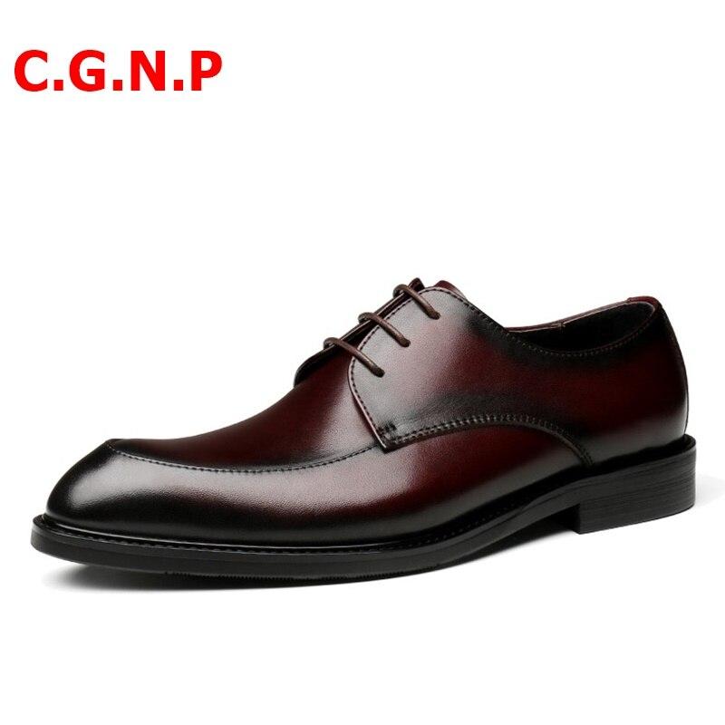 Купить с кэшбэком C.G.N.P Goodyear Welted Handmade Genuine Leather Formal Shoes Men Dress Shoes Lace-up Brush Color Office Wedding Mens Shoes