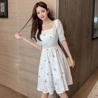 dress 2021 french fashion niche fairy embroidery short sleeved female student summer dress new v neck drawstring high end skirt