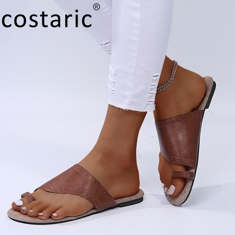 Brown Vintage Flip Flops Women New Light Summer Sandals Round Toe Flat Slides Outdoor PU Retro Beach Slippers Women Summer