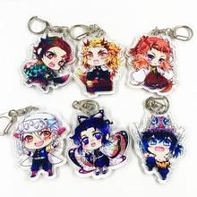 Tueur de démon Anime Kimetsu No Yaiba porte-clés Figure de dessin animé pendentif acrylique porte-clés