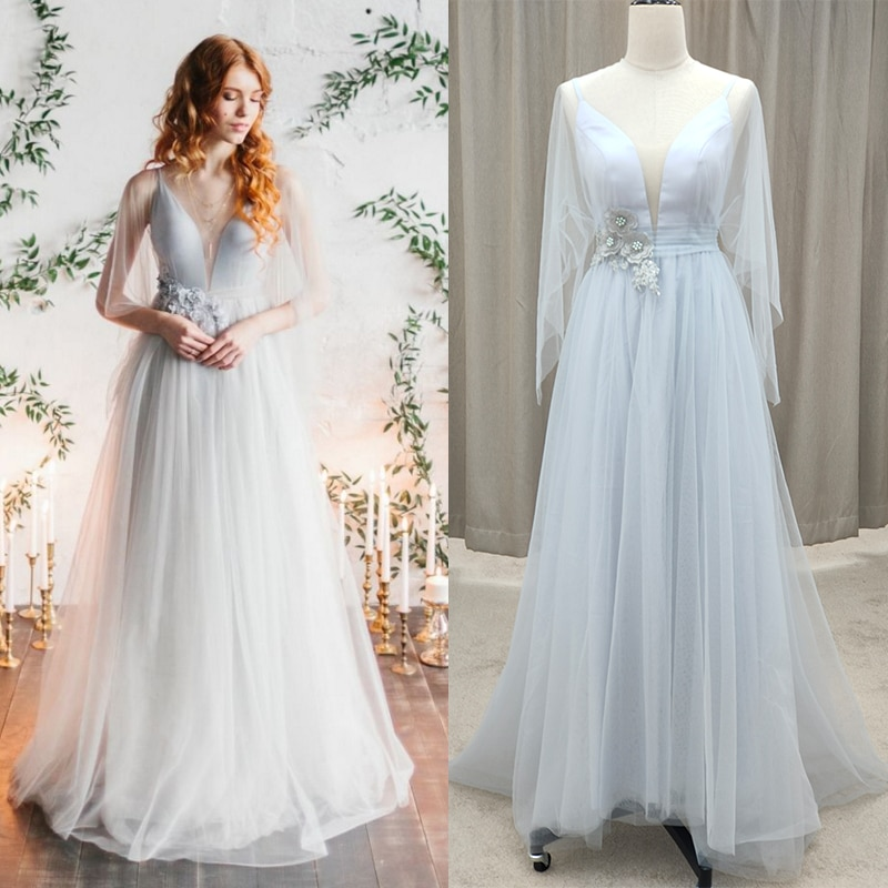 Deep V Neck Tulle Wedding Bridesmaid Dress Floral Appliques Pearls 2021 Long Batwing Sleeves Evening
