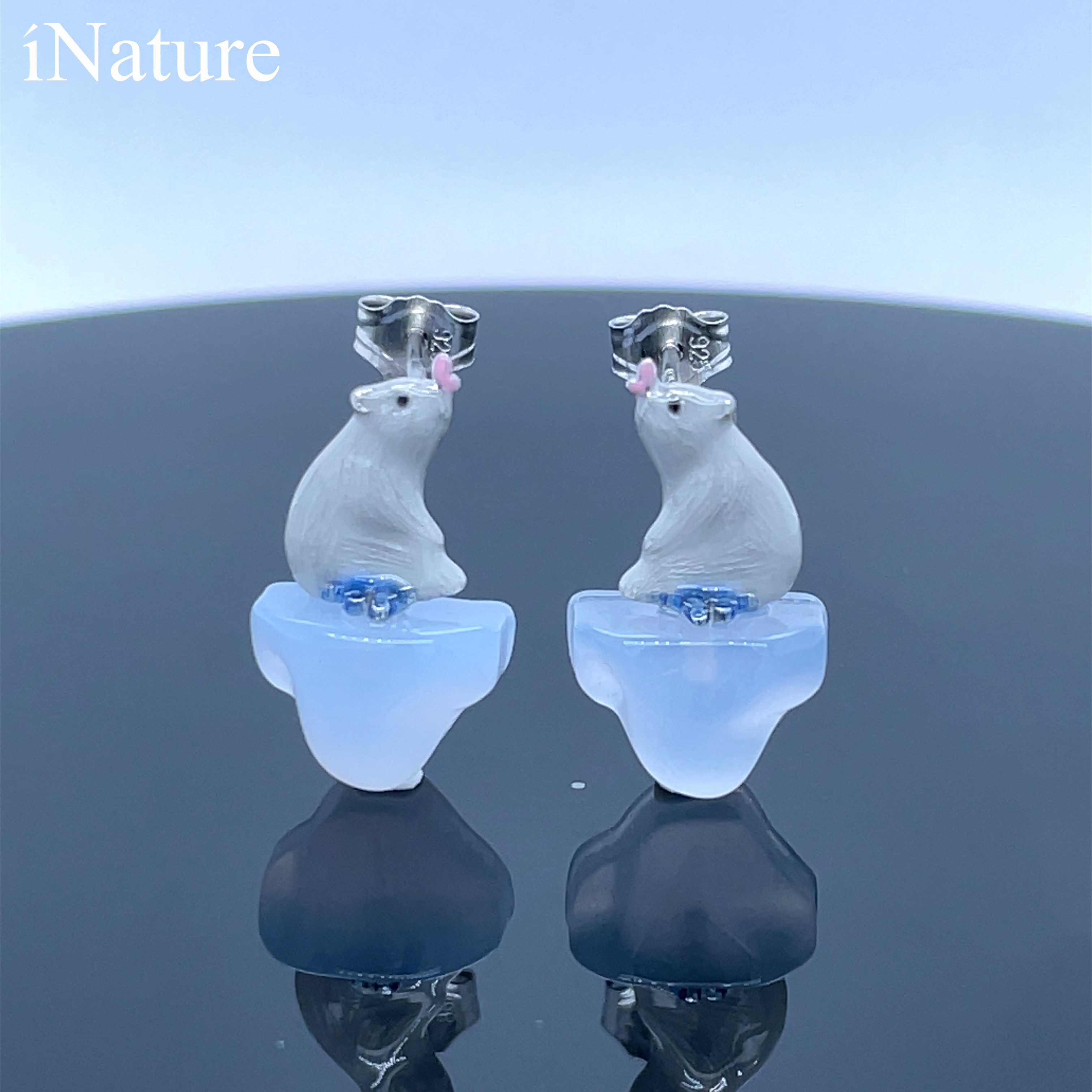 Review INATURE Natural Chalcedony Cute Bear Animal Stud Earrings for Women 925 Sterling Silver Jewelry