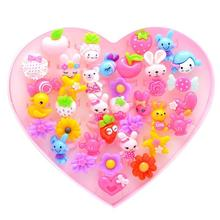 36PCS Kids Cartoon Resin Rings with Heart Shaped Display Case Dress Up Rings Children toys Cute ring