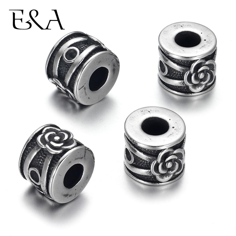 4 Uds. De acero inoxidable, cuentas de rosas para pulsera de cordón de cuero de 5mm, accesorios de Metal para joyería