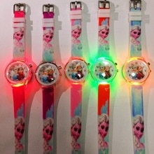 Children's Cartoon Watch Led Flash Quartz Watch Ice Snow Princess Silicone Girl's Watch Student Kids