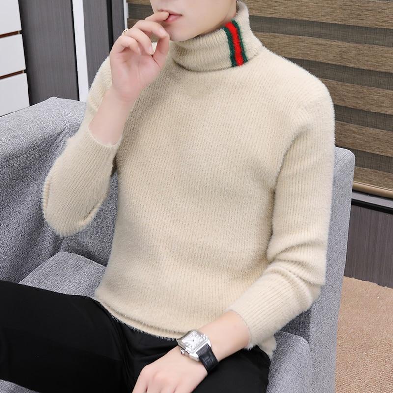 Осенне-зимний Корейский тонкий свитер с высоким воротником, мужской теплый вязаный свитер с длинным рукавом, пуловер с высоким воротником, ...