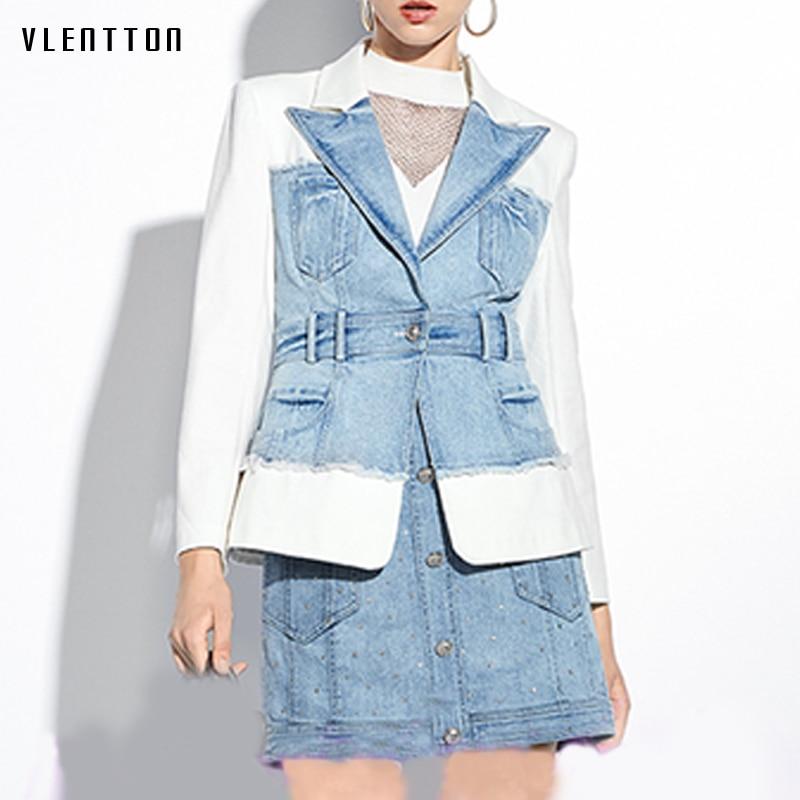 Alta calidad 2020 primavera otoño Denim Patchwork Mujer Blazer chaqueta Lion botón Slim abrigo Mujer Oficina señora Blazers Mujer