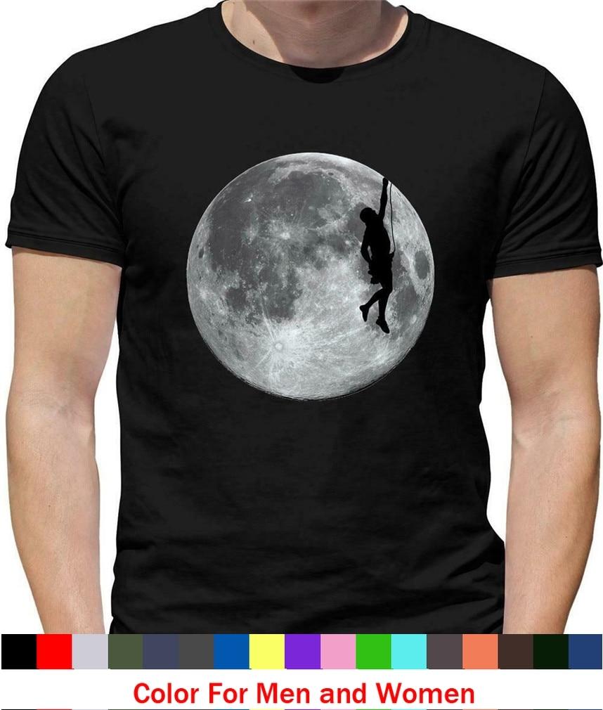 Escalada en roca Luna camiseta de montaña, escalada en roca subir espacio Climber Tee camiseta harajuku