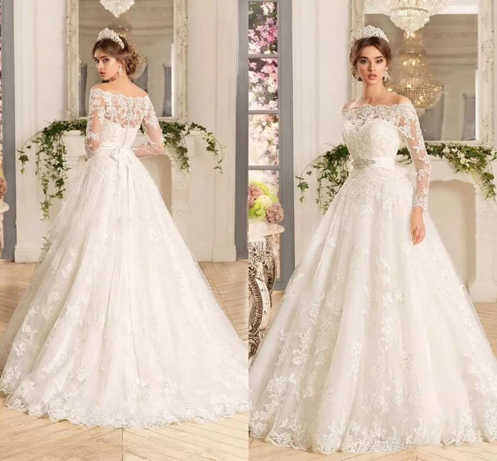 2020 elegant a line wedding dresses illusion v neck appliques sweep train bridal gowns with beaded sash custom made Custom Long Sleeves Lace Appliques A Line Wedding Dresses Bridal Gowns 2021 with Beads Sash Sweep Train Tulle Plus Size Bride