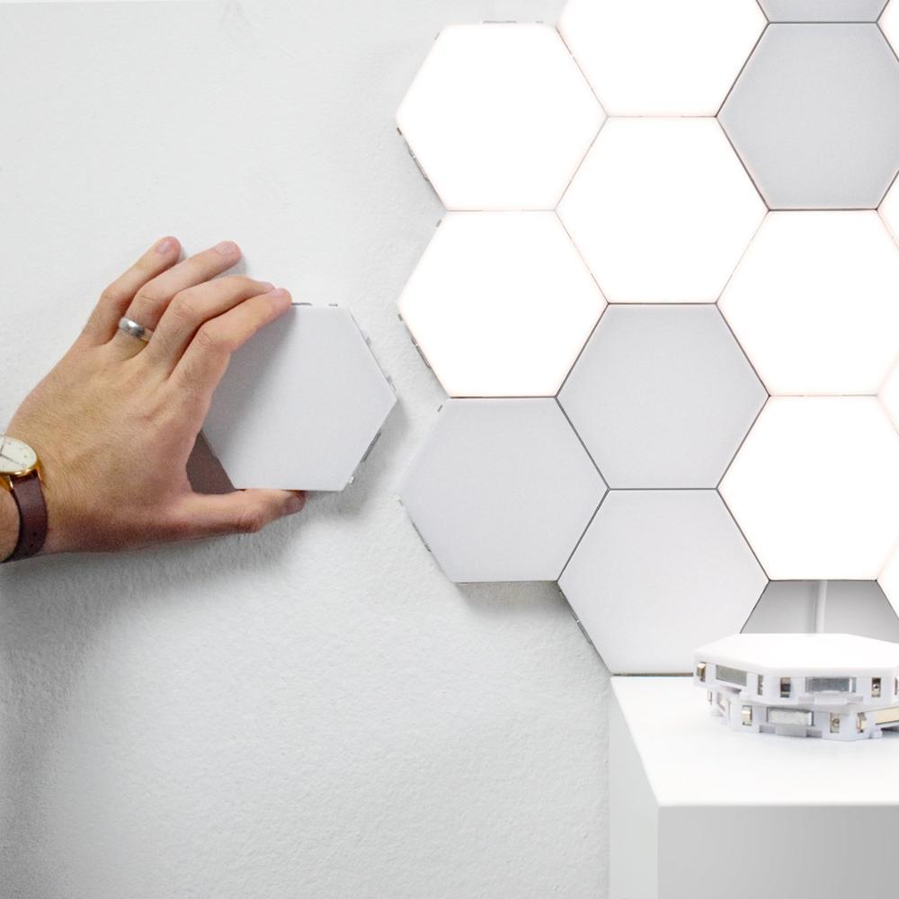 Creativo LED novedad lámpara cuántica luz de noche táctil DIY iluminaciones montaje de geometría Luminaria pared Lampa decoración de dormitorio