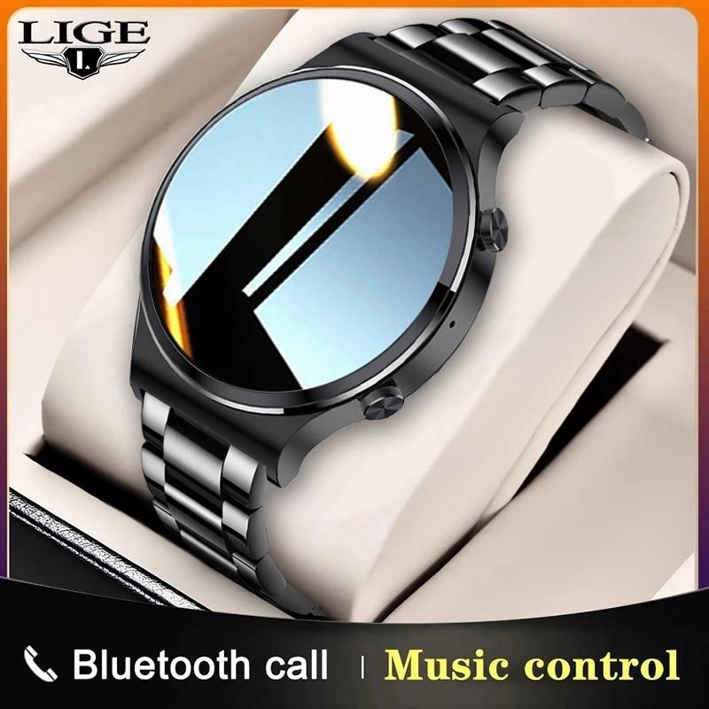 LIGE 2021 جديد ساعة ذكية الرجال شاشة تعمل باللمس كامل الرياضة اللياقة البدنية ساعة IP67 مقاوم للماء بلوتوث ل أندرويد ios smartwatch رجالي