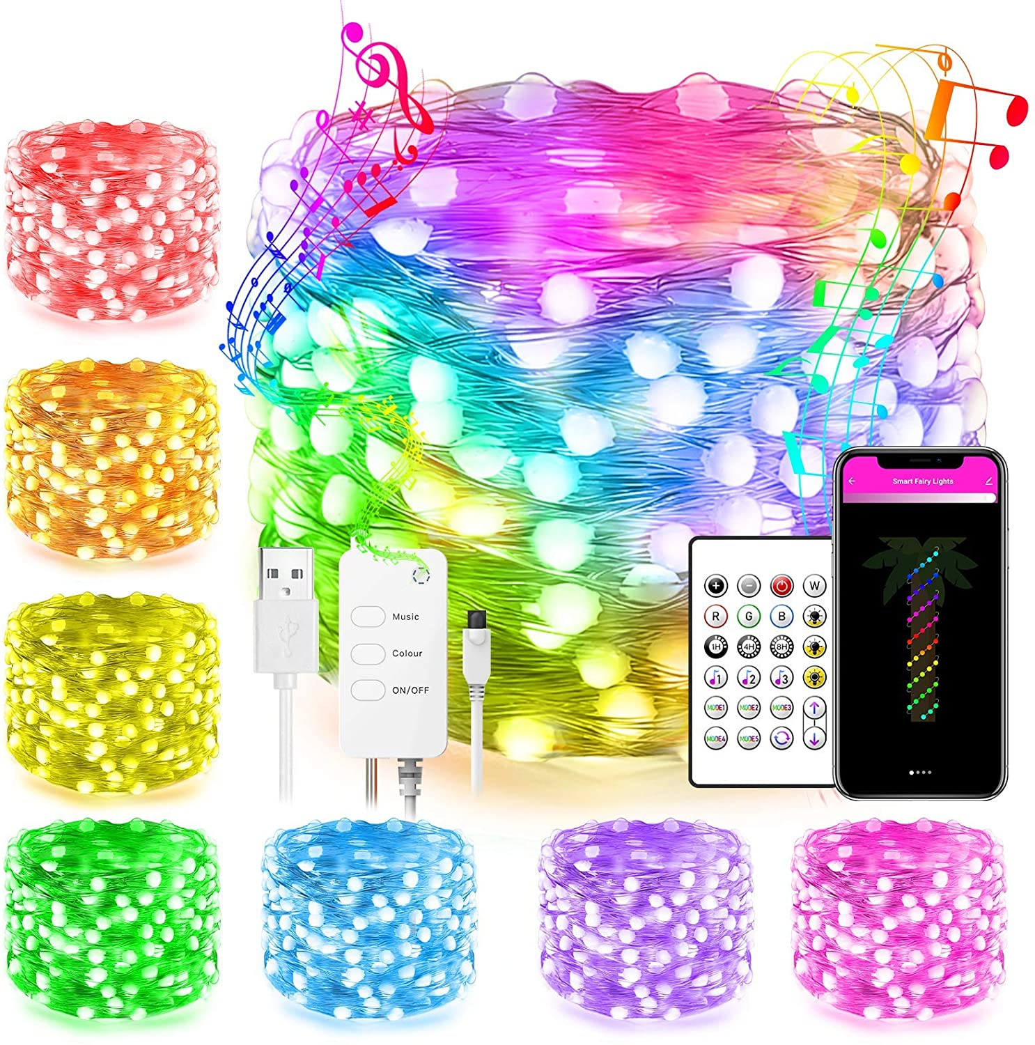 Smart WiFi Led Fairy String Lights Work with Alexa Google Home Remote App Control Multi Modes Color Changing Music Sync