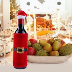 Chique papai noel fornecimento festa decoração presente roupas garrafa de vinho capa criativa festa de natal capa de vinho
