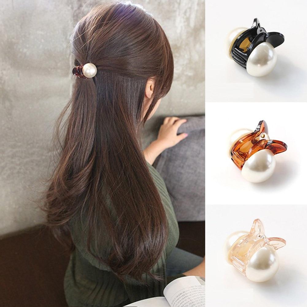 Корейски сладки мини кръгли перлени колове за жени и момичета, закопчалки за нокти за коса, щипки за раци за коса, инструмент за оформяне и грим