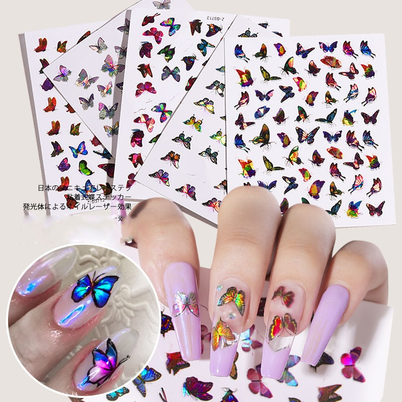 1 hoja de pegamento posterior mariposa arte láser en uñas pegatinas 3D pegatinas a prueba de agua bonitas pegatinas de mariposa decoración para manicura DIY