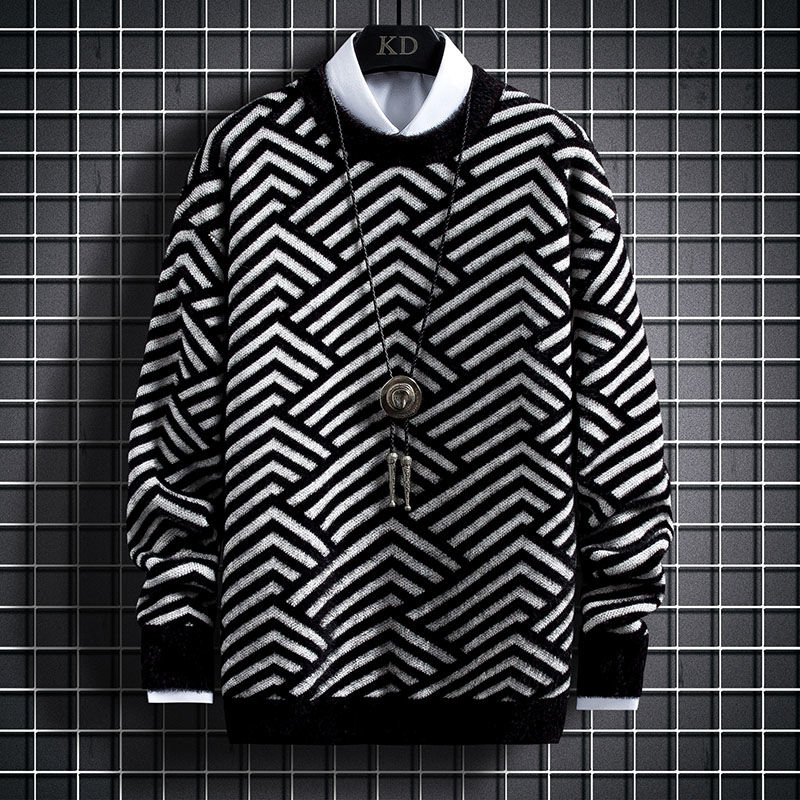 New autumn and winter round neck sweater men's loose youth personalized striped sweater