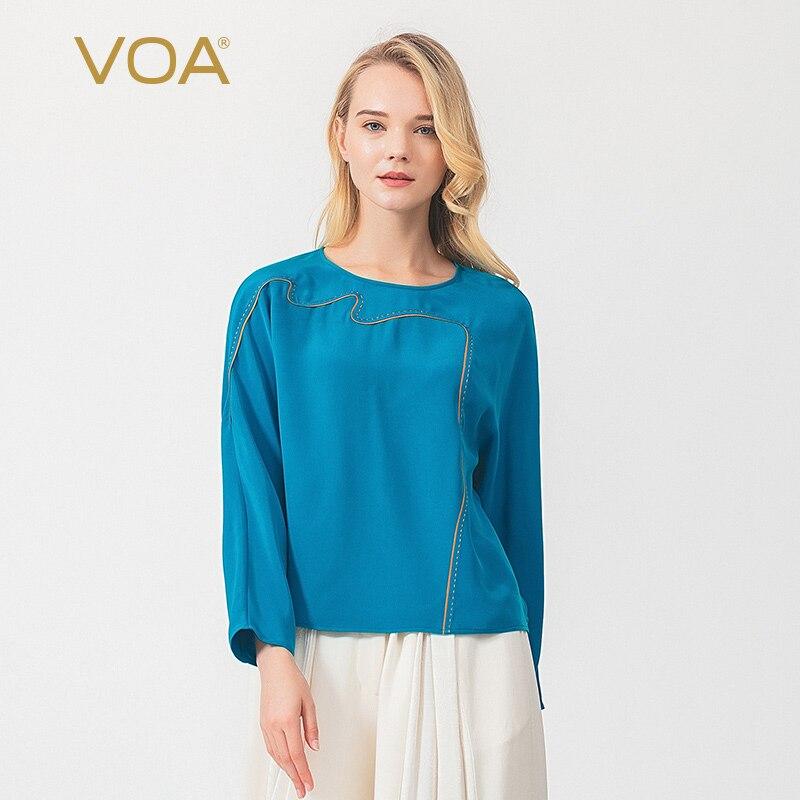 VOA silk heavy-weight kingtai blue round collar asymmetric gold collar edge arch strap shoulder long-sleeved loose T-shirt B9197