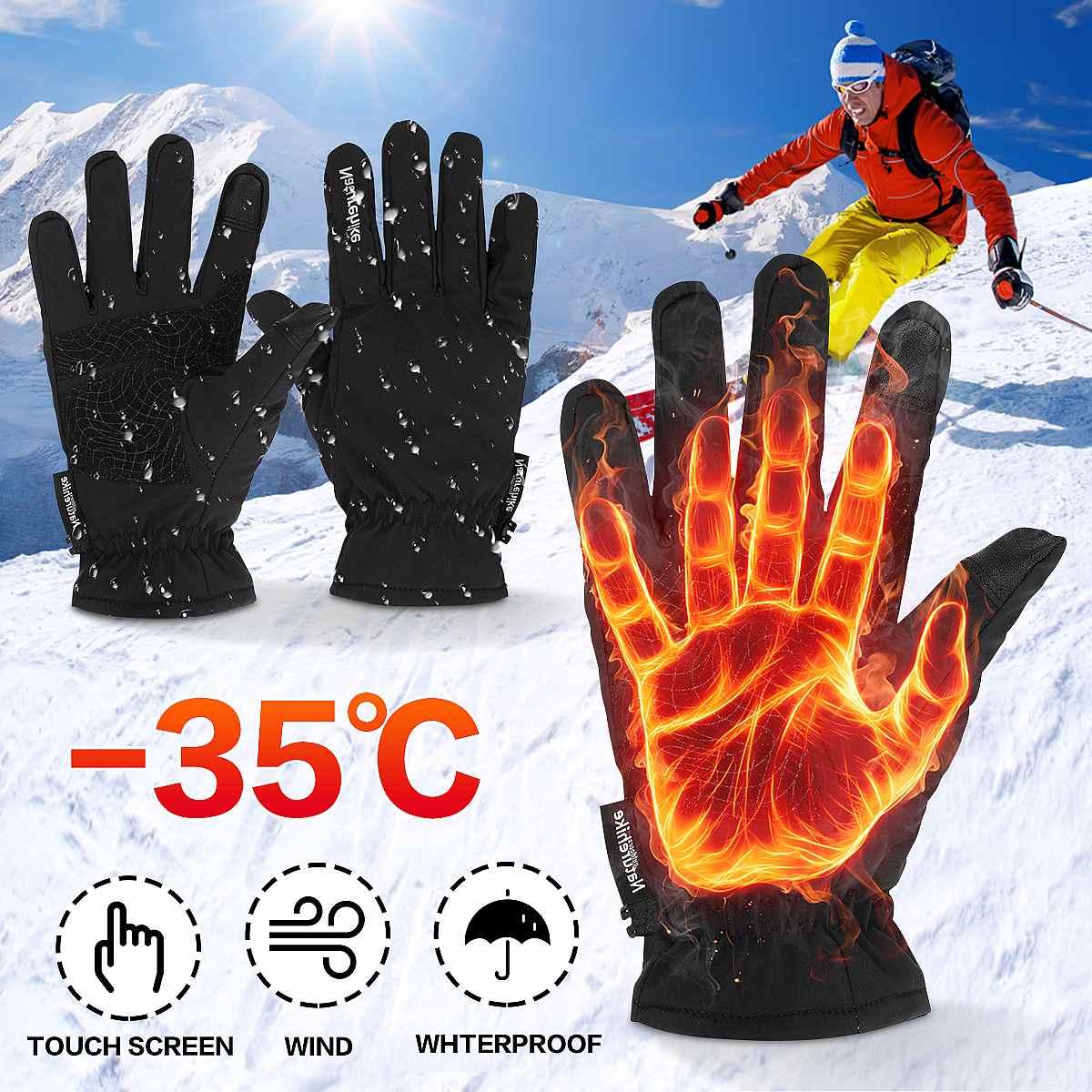Guantes Térmicos para ciclismo, manoplas para Snowboard y bicicleta, con pantalla táctil,...