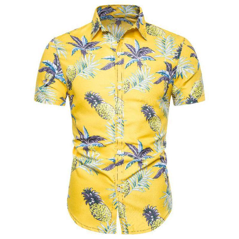 Camisa de talla grande y alta para hombres camisa de lino Casual Streetwear con estampado Floral para hombres camisa de manga corta de un solo pecho Tropical