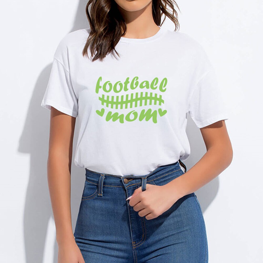 Vogue Oversize Football Mom T-shirt  Art Printing Funny Round Collar Casual Female Harajuku Tshirt Vintage Spring Summer T shirt