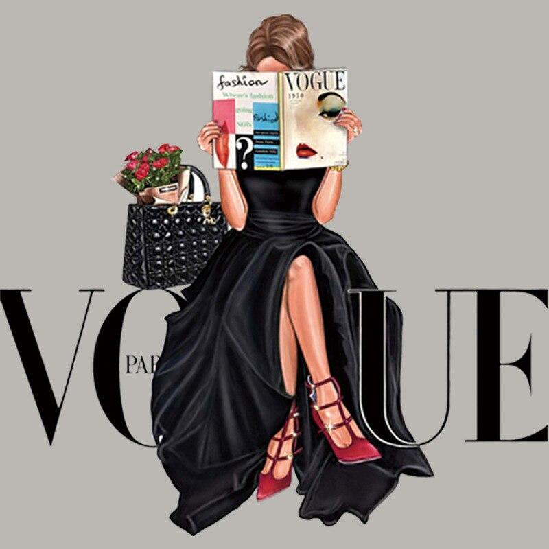 Нашивки VOGUE Girl для одежды, красивые термоклейкие наклейки, Аппликации для одежды, перенос утюгом для женской юбки, пальто