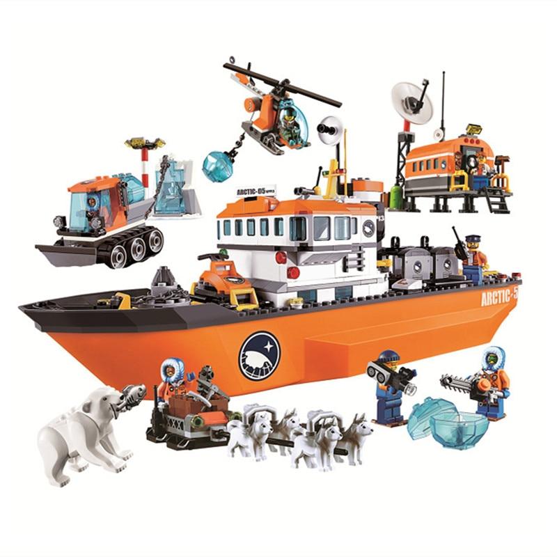 10443 760 pces urbano arctic icebreaker bela compatível com lepining 60062 bloco de construção brinquedo