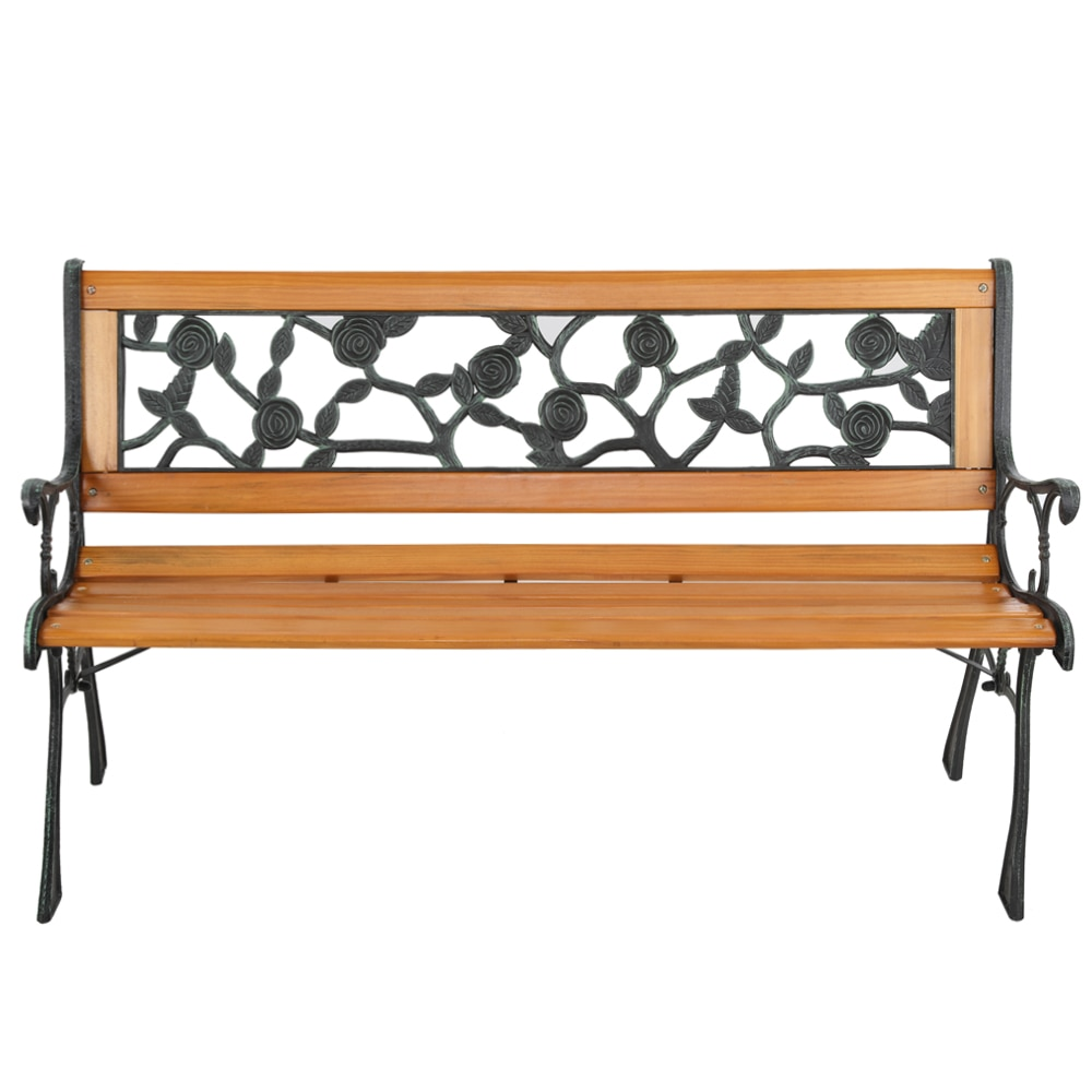 مقعد حديقة معدني خارجي ، أثاث شرفة من الحديد الزهر ، ديكور شرفة أمامية ، مقعد ترفيه