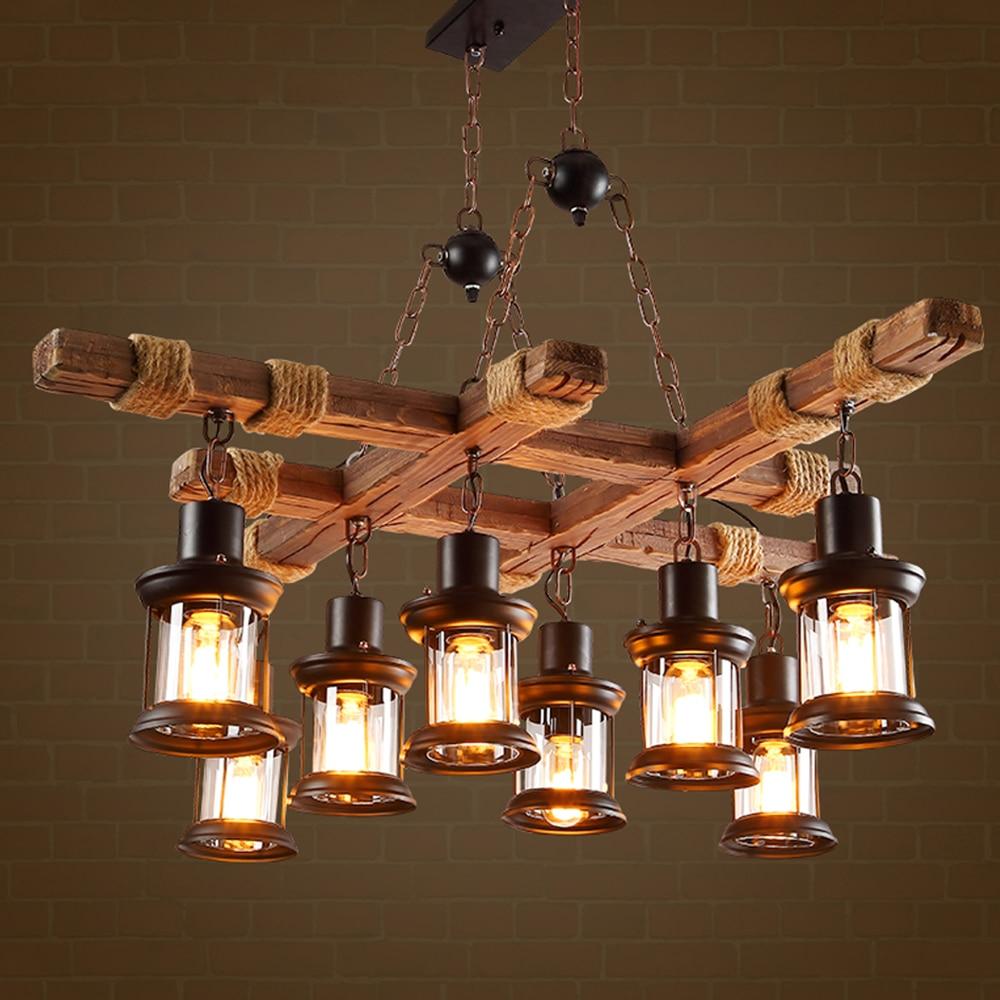 EKOO 8 ضوء خمر الخشب الصناعي الرجعية E27 الثريا الحديد مصباح ريفي ضوء لمطعم بار غرفة المعيشة