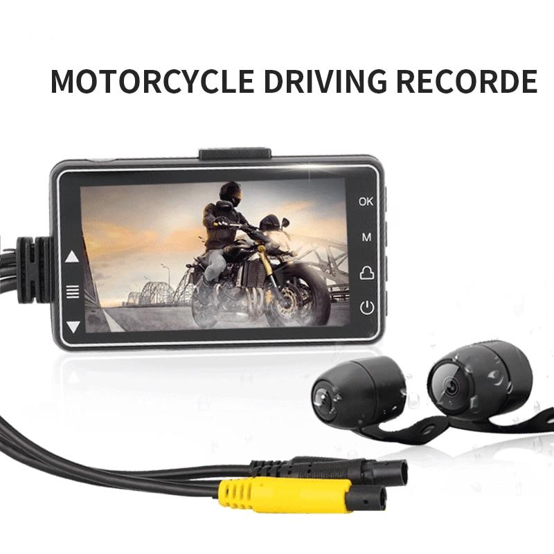 Cámara de salpicadero FHD 1080P para motocicleta, videocámara DVR impermeable, Vista frontal...