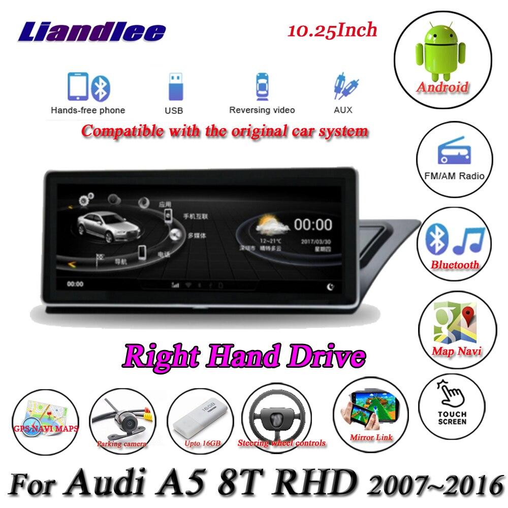 Liandlee para Audi A5 8T Unidad de mano derecha sistema Android Original Radio Carplay GPS navegación Multimedia sin CD reproductor de DVD