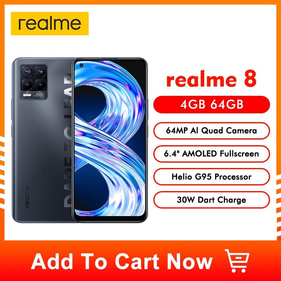 Realme 8 النسخة العالمية الذكي 64MP رباعية كاميرا هيليو G95 6.44