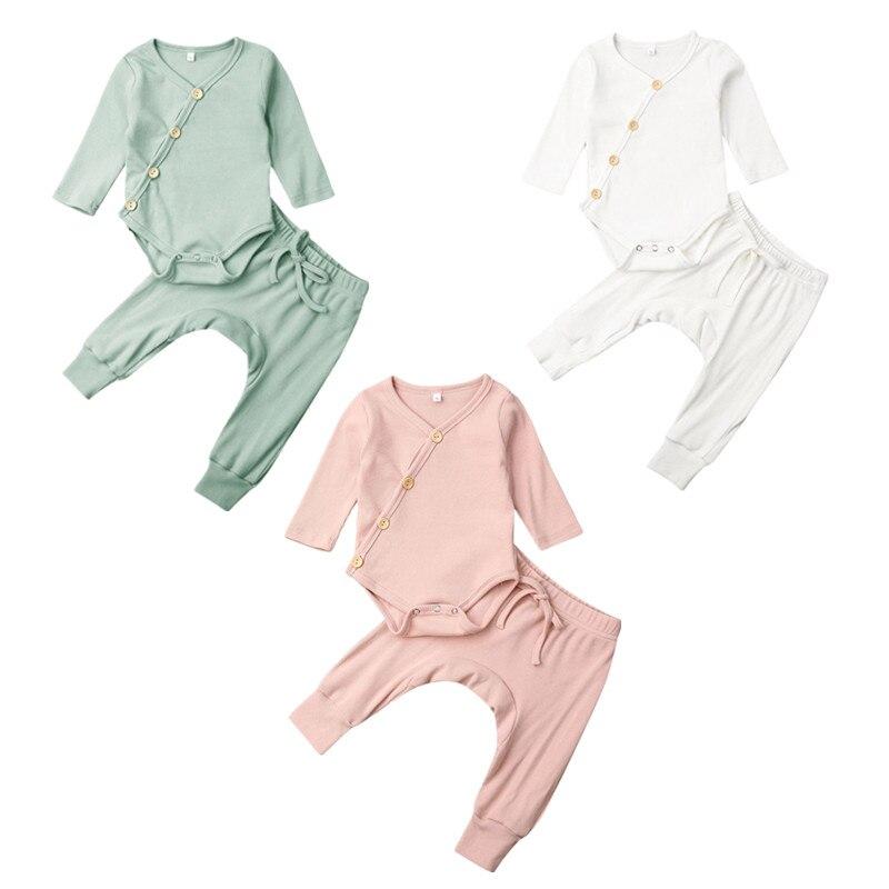 0-18M Solide Kleidung Newborn Kid Baby Junge Mädchen Kleidung Comfy Jumpsuit Lange Hosen Outfit Set
