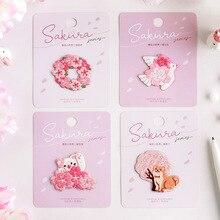 Borduurwerk Stickers Sakura Groep Kat Serie Patches Voor Kleding Diy Parches Bordados Tas Hand Boek Decoratieve Ijzeren Naszywki