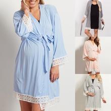 Robe de nuit en dentelle pour femmes   Décontractée, couleur unie, manches 3/4, bande, Robe de nuit, maternité