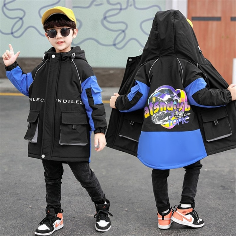 Boys' quilted trench coat autumn and winter new children and teens autumn clothing men's mid-length children's Korean fashion enlarge