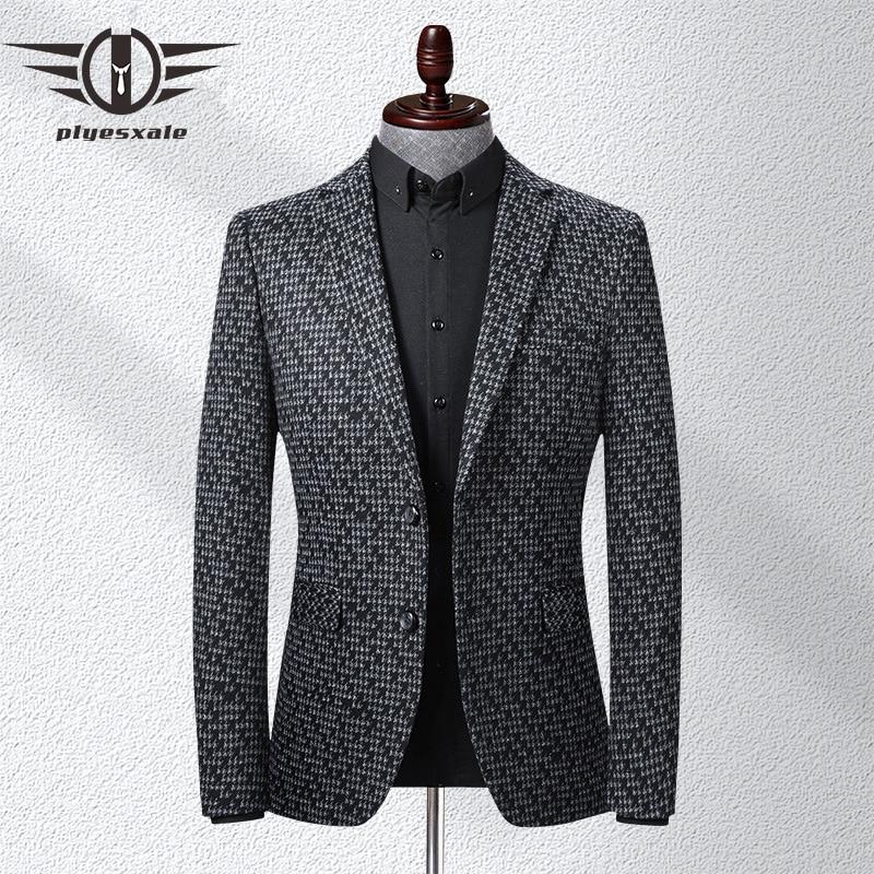 Plyesxale Brand Black Grey Men Blazer Slim Fit Casual Blazers 2020 Autumn High Quality Men's Blazer Designer Suit Jacket Q515