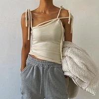 women summer slim sexy cropped top irregular shoulder bow lace up camisoles female all match fashion streetwear tank top vest