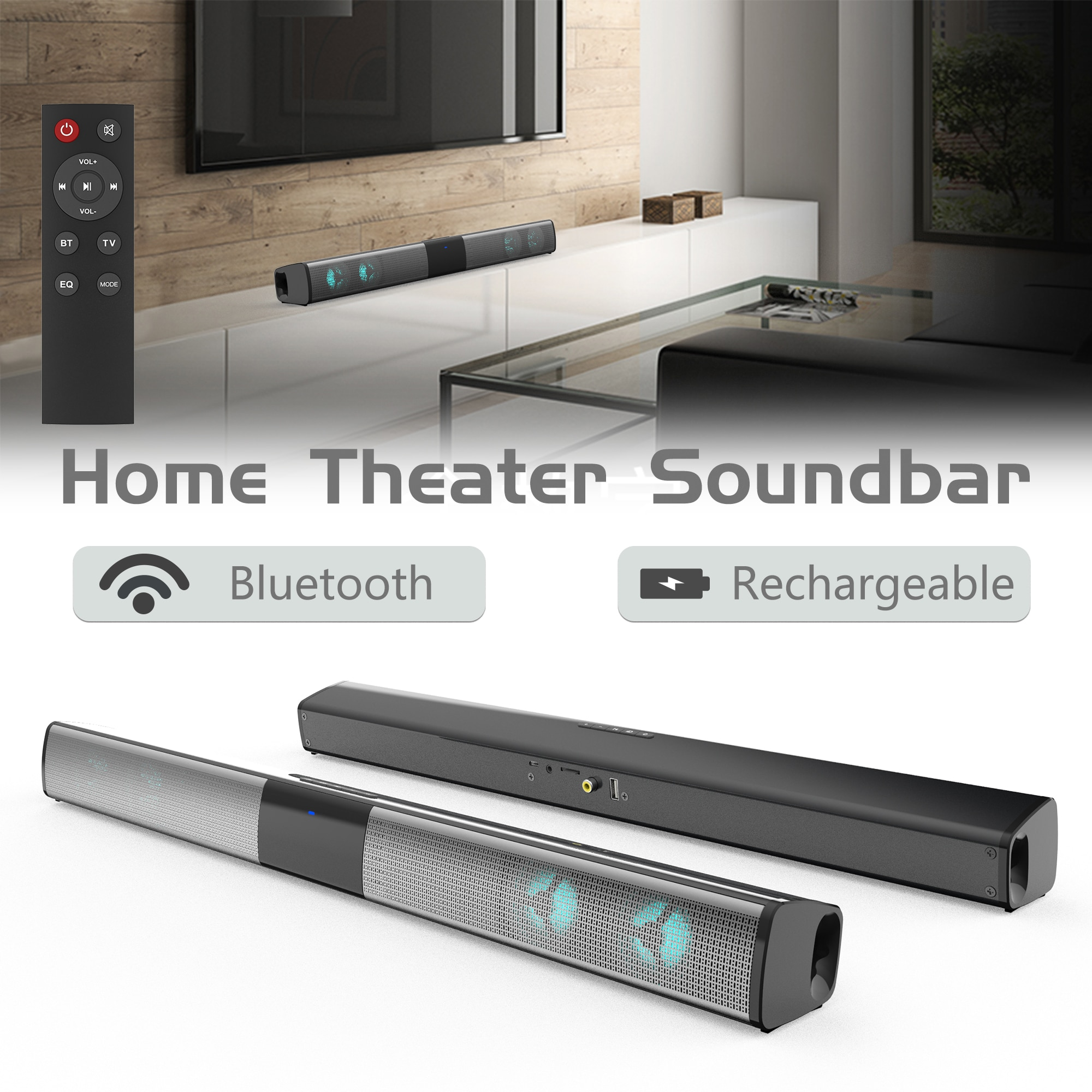 2021 Wireless RGB bluetooth speaker sound bar TV computer echo wall home theater subwoofer surround sound strip with TF card AUX enlarge
